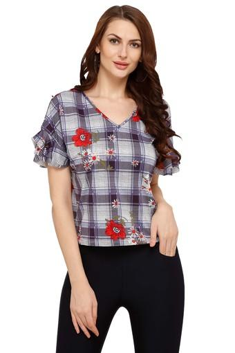 Womens V-Neck Floral Print Top