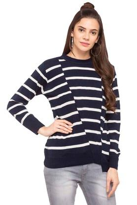 ONER Womens Round Neck Stripe Knitted Cardigan