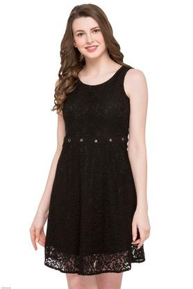 Womens Round Neck Lace A-Line Dress