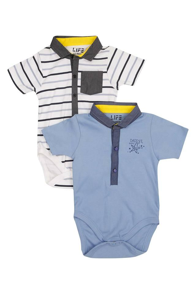 Boys Collared Solid and Stripe Bodysuit Pack of 2