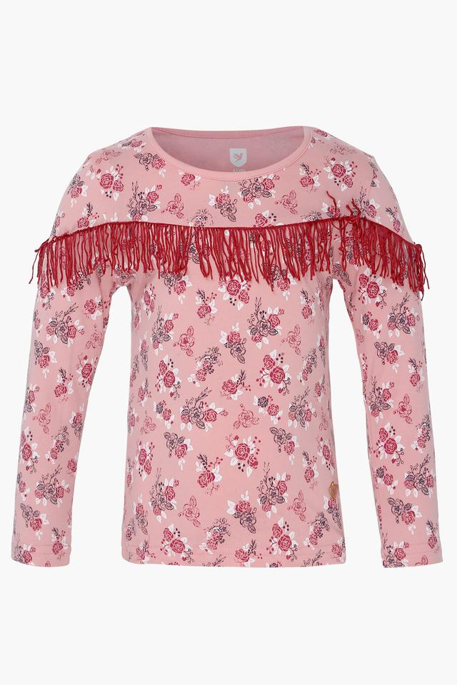 Girls Round Neck Floral Printed Top