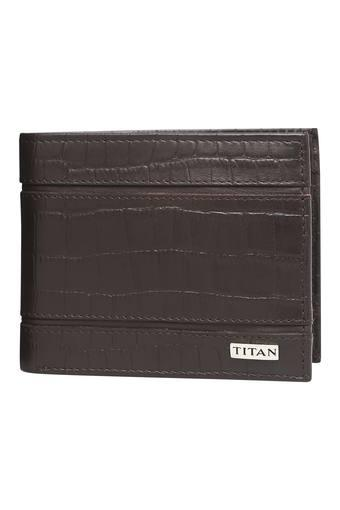 Mens Leather 1 Fold Smart Wallet - Brown