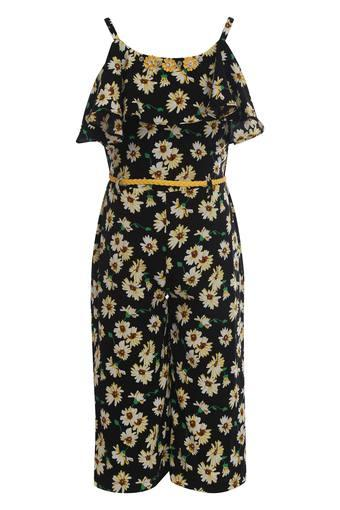 Girls Spaghetti Neck Floral Print Jumpsuit
