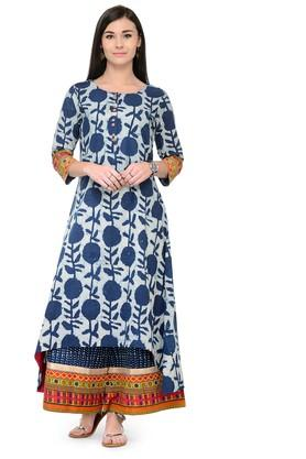 VARANGA Women High Low Kurta With Border Printed Palazzo