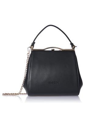 RHESONWomens Metallic Lock Closure Satchel Handbag