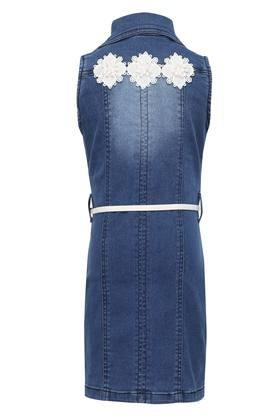Girls Washed Knee Length Dress with Belt