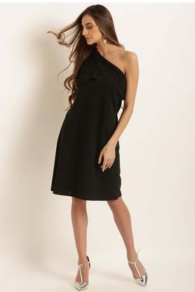 Womens One Shoulder Solid Shift Dress