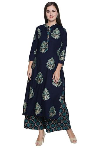 Womens Mandarin Neck Printed Palazzo and Kurta Set