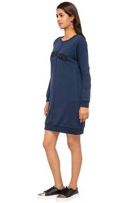 Womens Round Neck Slub T-Shirt Dress