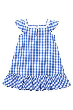 Girls Square Neck Checked Dress