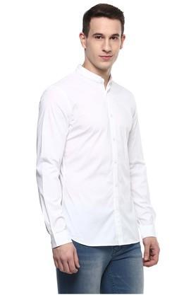 Mens Regular Fit Mandarin Collar Solid Casual Shirt