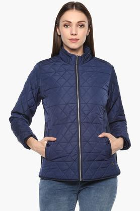 MONTE CARLOWomens Zip Through Neck Solid Quilted Jacket