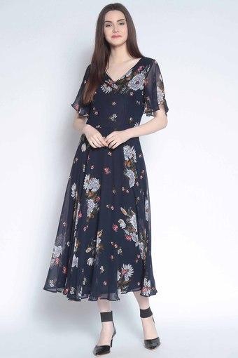 Buy RARE Womens Floral Print Flared Dress  f76413296072