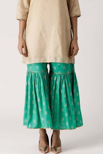Womens Printed Gotta Patti Sharara Pants
