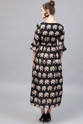 Womens Round Neck Printed Flared Dress With Yoke Lining