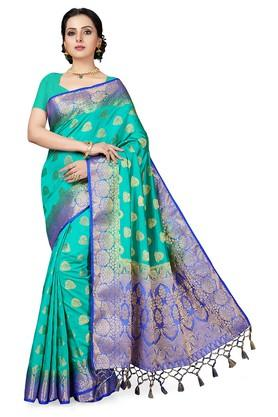 ISHINWomens Gold Woven Saree With Blouse Piece - 204668438_8059
