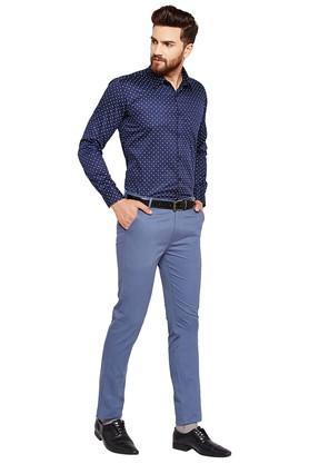Mens Slim Fit 4 Pockets Solid Chinos