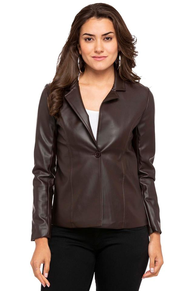 Womens Collared Solid Casual Jacket