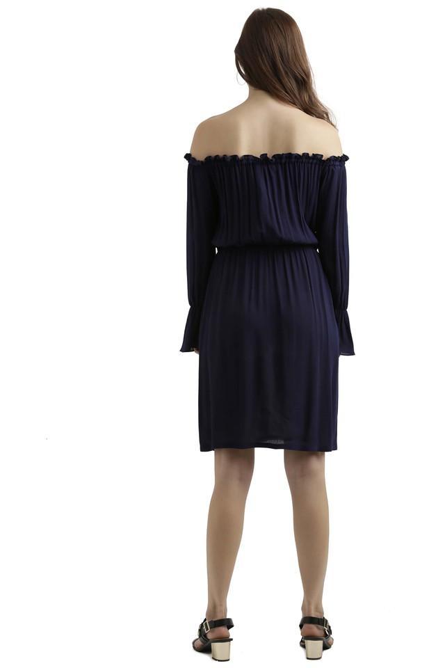 Womens Off Shoulder Neck Solid Flared Dress