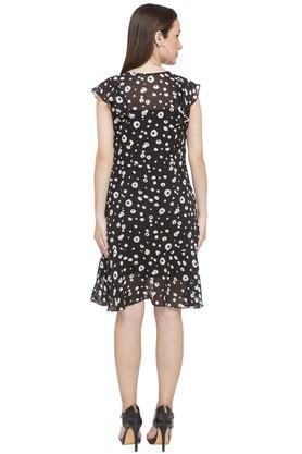 Womens Key Hole Neck Printed Shift Dress