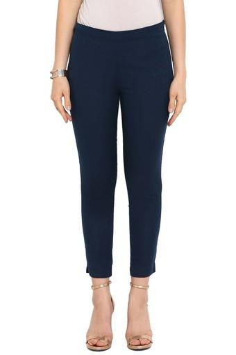 Womens Cotton Flex Solid Straight Pant