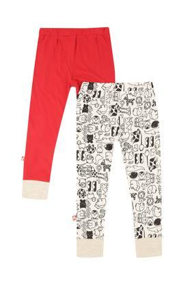 Boys Printed and Solid Leggings Pack of 2