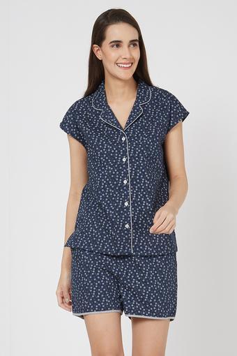 Womens Notched Lapel Printed Shirt and Shorts Set