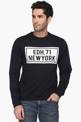 ED HARDYMens Slim Smart Fit Round Neck Printed Sweatshirt