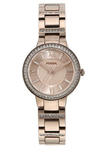 Womens Virginia Pink Dial Stainless Steel Analogue Watch - ES4482I