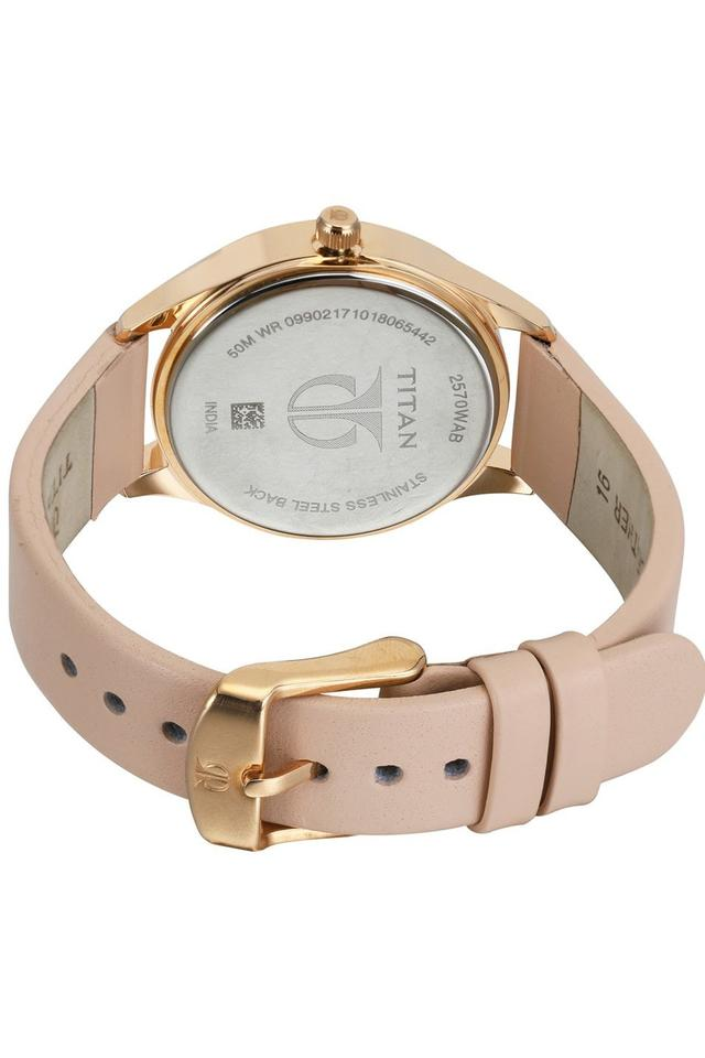 Womens Sparkle Rose Gold Dial Leather Analogue Watch - 2570WL01
