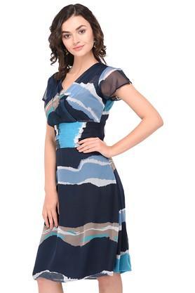 Womens Surplice Neck Printed Skater Dress