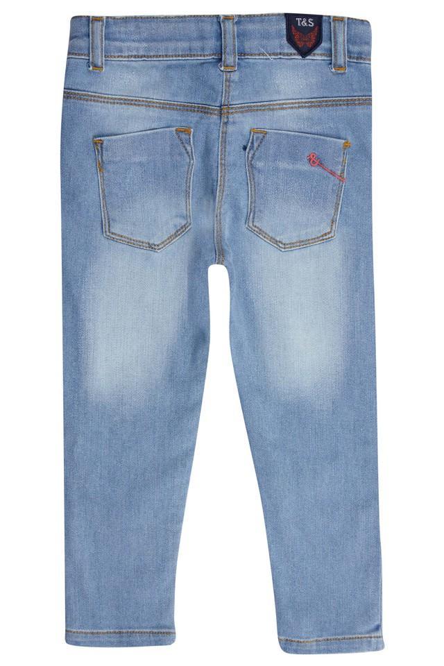 Girls 4 Pocket Whiskered Effect Jeans
