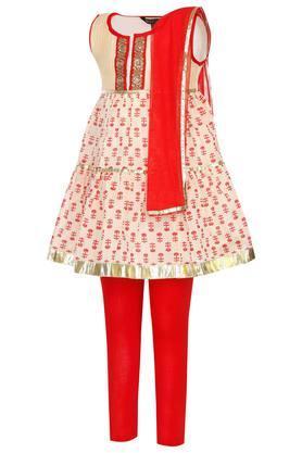Girls Round Neck Printed Churidar Suit
