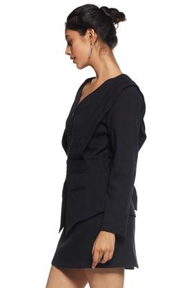 Women Pleated Shoulder Jacket