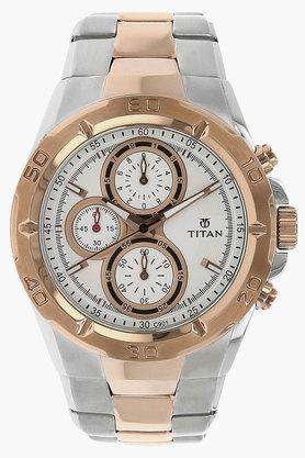 TITANMens Rose Gold Dial Stainless Steel Watch - NH9308KM01A