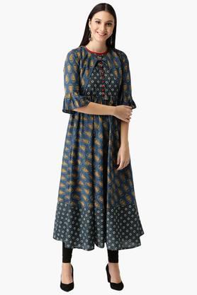 LIBASWomens Cotton Printed Anarkali Kurta With Jacket