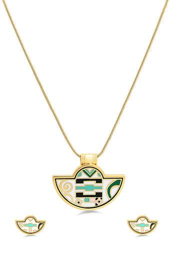 Womens Gold Plated Pendant Set
