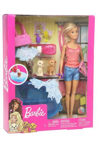 Girls Barbie Doll and 3 Puppies Play set