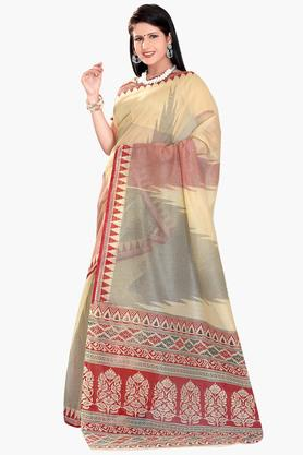 DEMARCA Womens Cotton Blend Printed Saree - 203229479