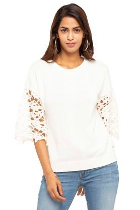ELLE Womens Round Neck Knitted Pattern Sweater