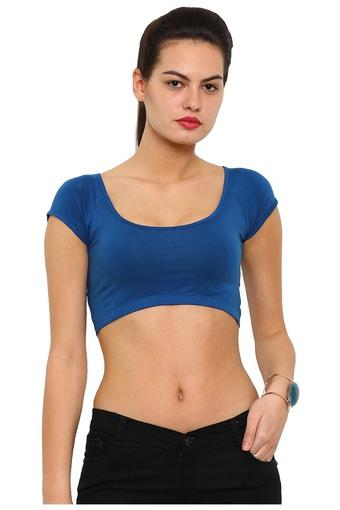 Womens Round Neck Solid Crop Top