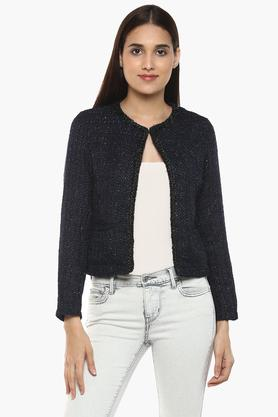 Womens Round Neck Shimmer Cardigan