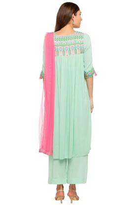 Womens Round Neck Solid Embroidered Palazzo Suit
