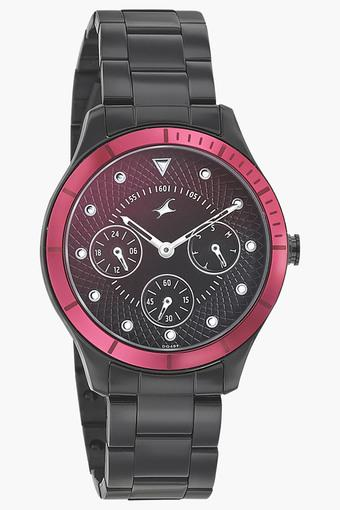 Womens Stainless Steel Analog Black Round Watch - 6163KM02