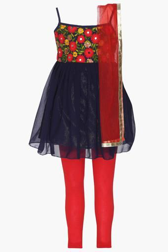 Girls Spaghetti Neck Embroidered Churidar Suit