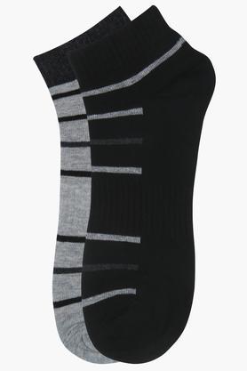 Mens Solid Ankle Length Socks - Pack of 2
