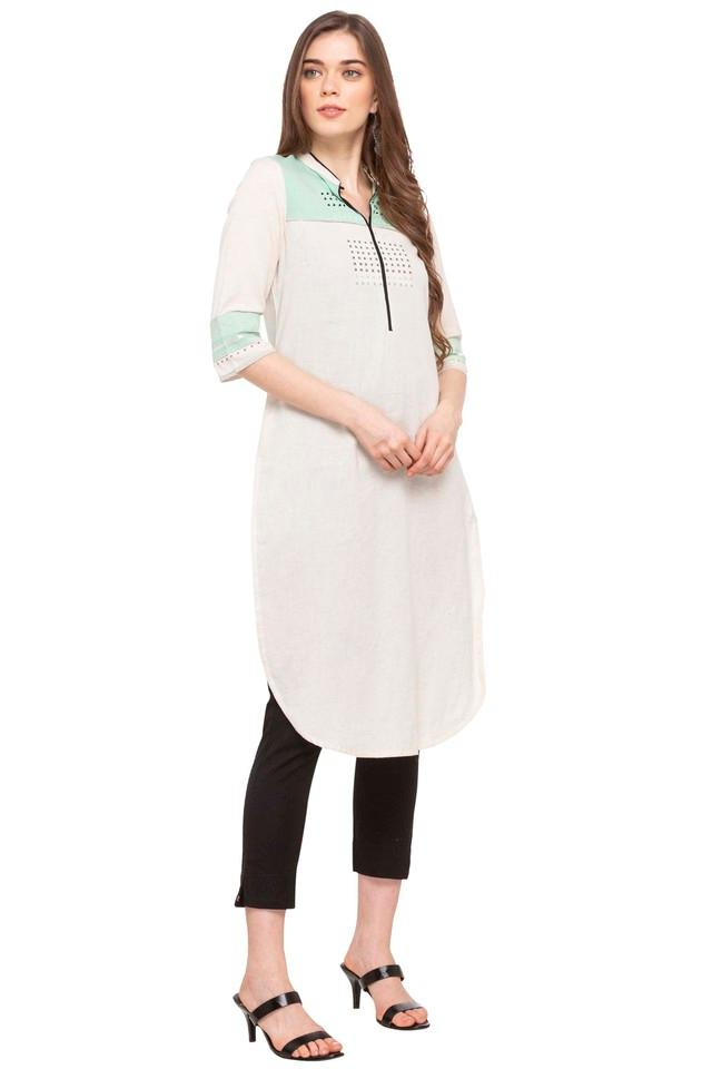 Womens Mandarin Collar Colour Block Mukesh Embroidery Kurta