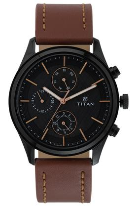 Mens Black Dial Leather Multi-Function Watch - 1805NL01