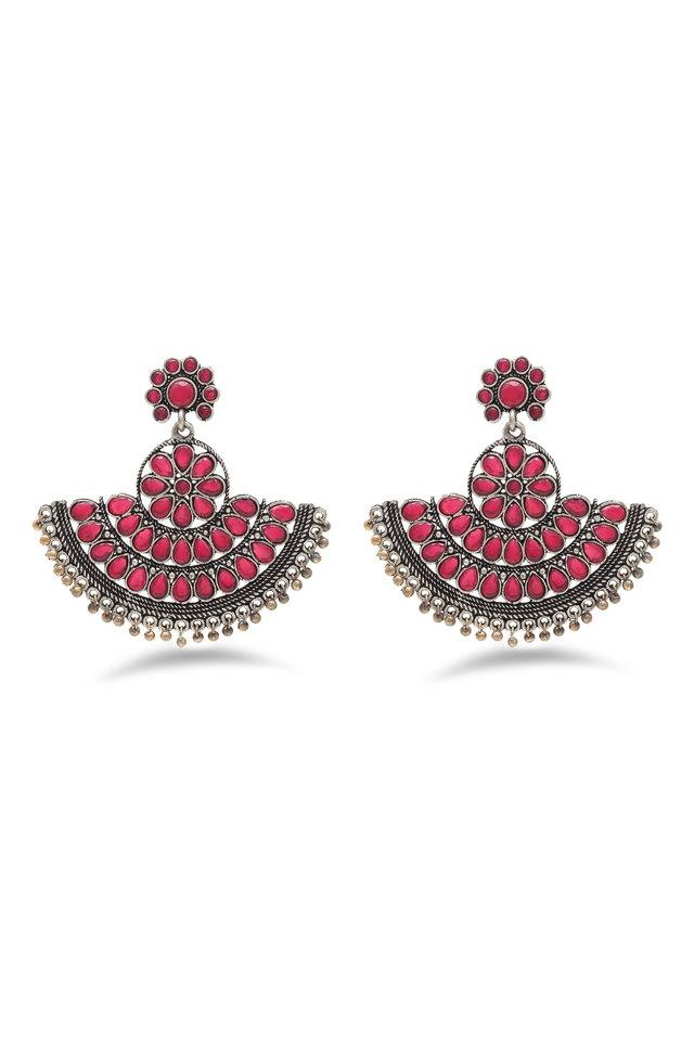 Womens Stone Studded Silver Plated Drop Earrings
