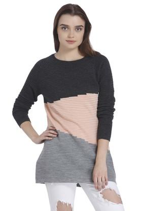 VERO MODA Womens Round Neck Colour Block Sweater